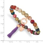 Chisel Stainless Steel Polished Rose IP Clover Multi Color Agate Stretch Bracelet