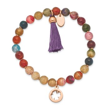 Stainless Steel Polished Rose IP Clover Multi Color Agate Stretch Bracelet