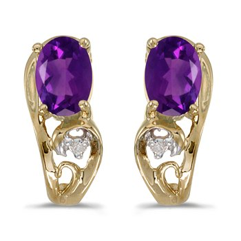 10k Yellow Gold Oval Amethyst And Diamond Earrings