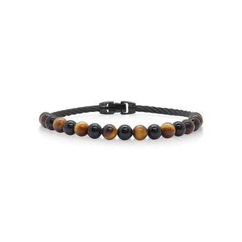 Single Row Black Cable & Black Onyx & Tiger Eye Bracelet