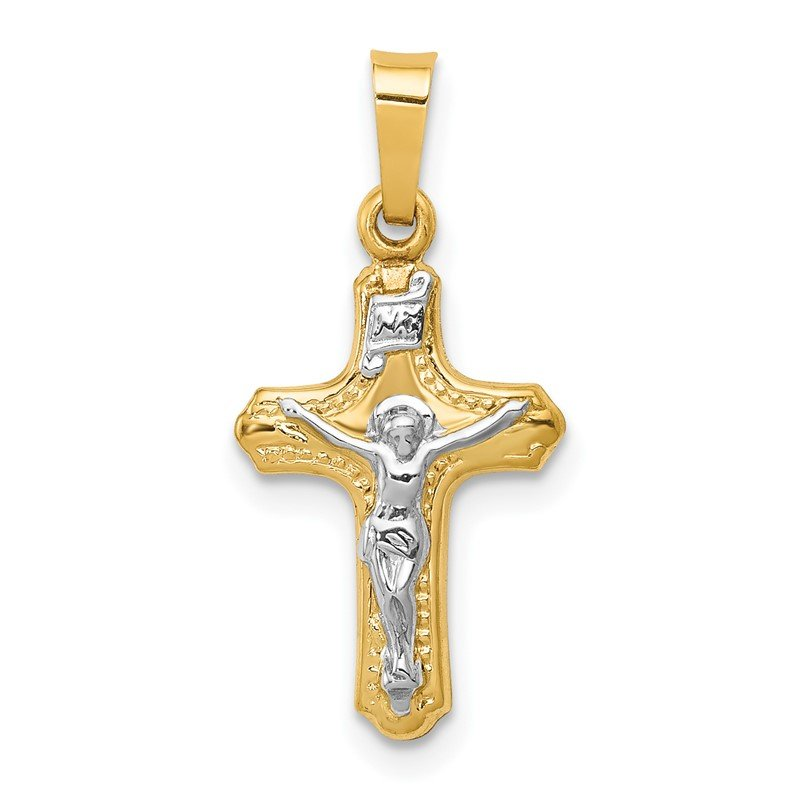 Quality Gold 14k Two-tone Polished and Textured INRI Crucifix Pendant