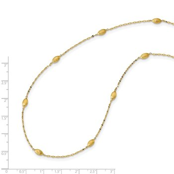 14k Diamond-cut w/Satin Oval Beads Necklace