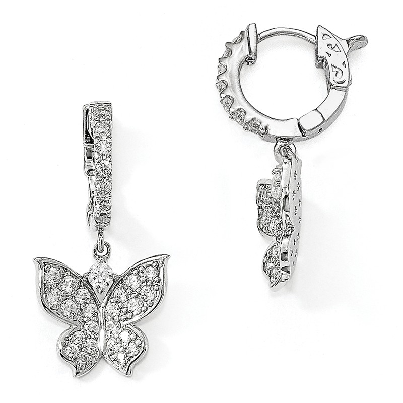 925 Sterling Silver Rhodium-plated Polished Butterfly Dangle Post Earrings