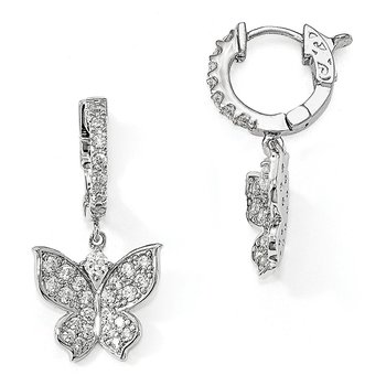 Sterling Silver Polished CZ Butterfly Hinged Hoop Dangle Earrings