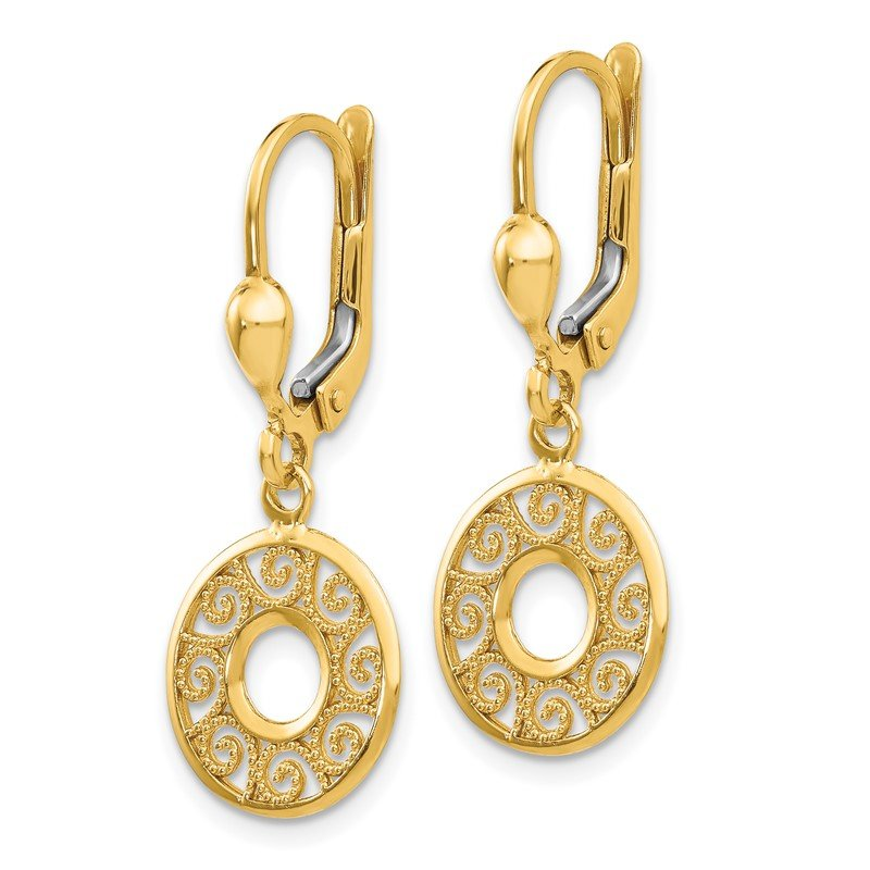 Quality Gold 14K Leverback Filigree Earrings