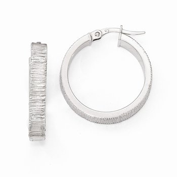 Leslies 14k White Gold Textured Hoop Earrings