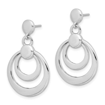 Sterling Silver Rhodium-plated Double Circle Dangle Post Earrings