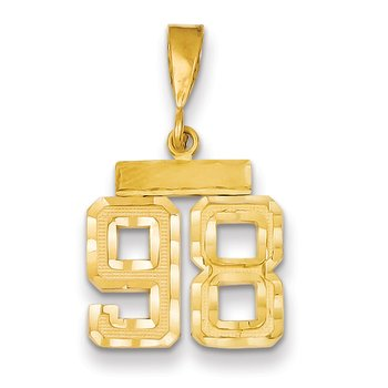 14k Small Diamond-cut Number 98 Charm