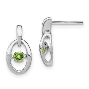 Sterling Silver Rhodium Peridot Birthstone Vibrant Earrings