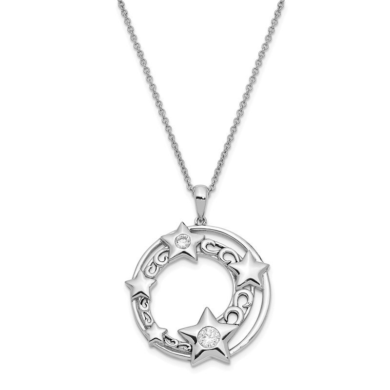 Fine Jewelry by JBD Sterling Silver CZ Antiqued Once In A Lifetime 18in. Necklace