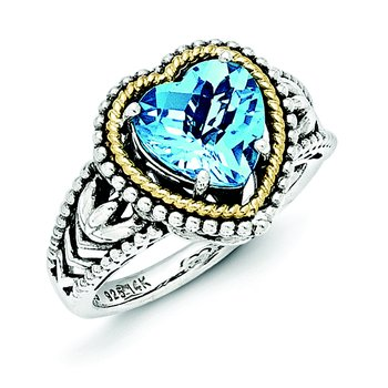 Sterling Silver w/14k Antiqued Blue Topaz Heart Ring