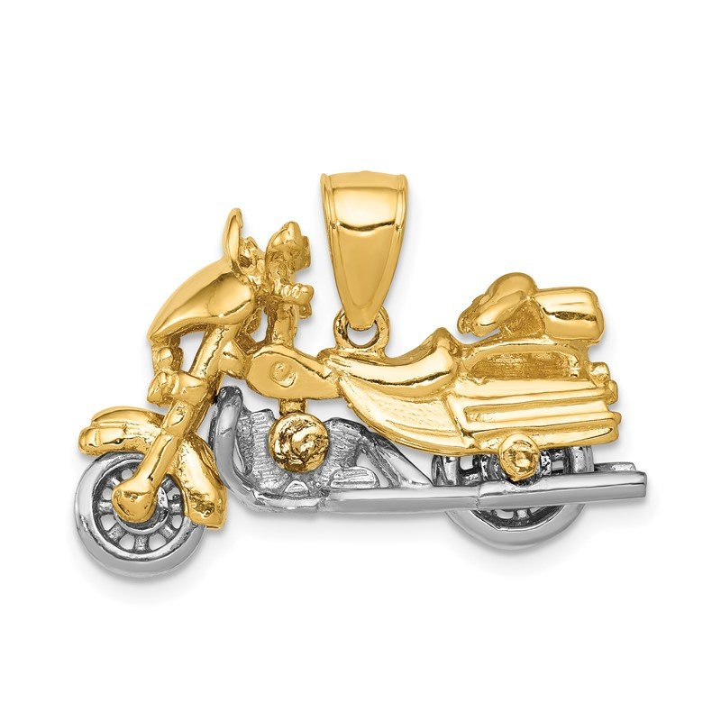 Quality Gold 14k Two-tone 3-D Moveable Motorcycle Pendant