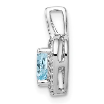Sterling Silver Rhodium-plated Light Swiss Blue Topaz Diamond Pendant