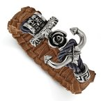 Chisel Stainless Steel Polished Antiqued Brown Leather Anchor Toggle Bracelet