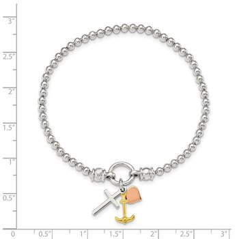 Sterling Silver Rose and Gold-tone Heart/Cross/Anchor Stretch Bracelet