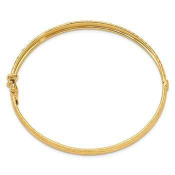 14k D/C Textured Hinged Bangle