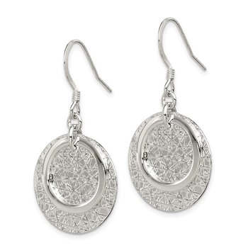 Sterling Silver Polished Textured Fancy Circle Dangle Earrings