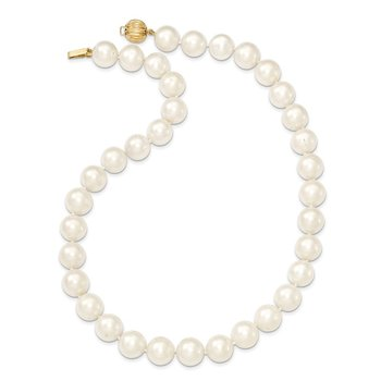 14k 11-12mm White Near Round Freshwater Cultured Pearl Necklace