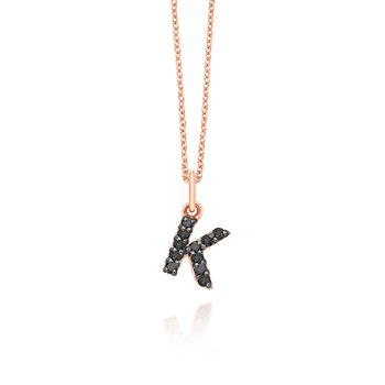 "Black Diamond Baby Block Initial ""K"" Necklace"