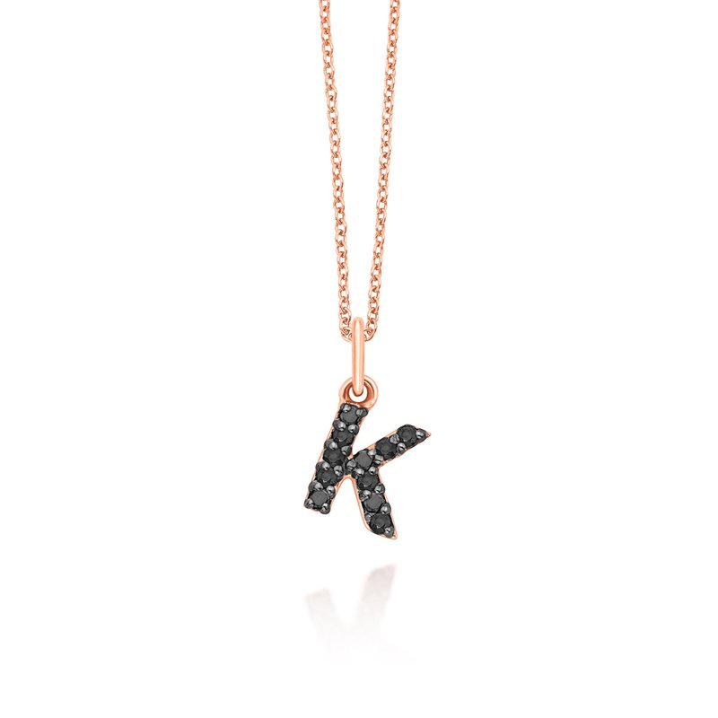 "MAZZARESE Fashion Black Diamond Baby Block Initial ""K"" Necklace"