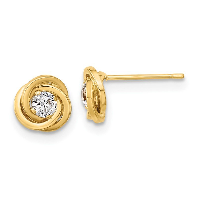 Quality Gold 14k Polished CZ Love Knot Post Earrings