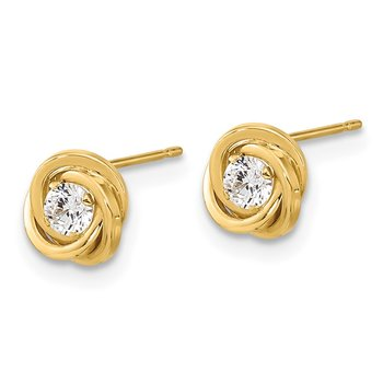 14k Polished CZ Love Knot Post Earrings