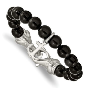 Stainless Steel Brushed Black Agate Beaded 8in Anchor Bracelet