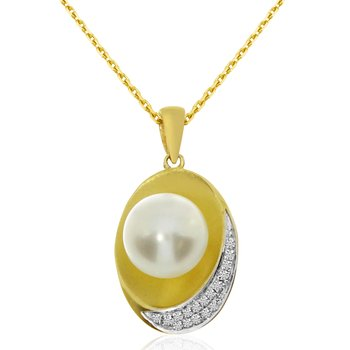 14k Yellow Gold Pearl And Single Cut Diamond Concave Pendant