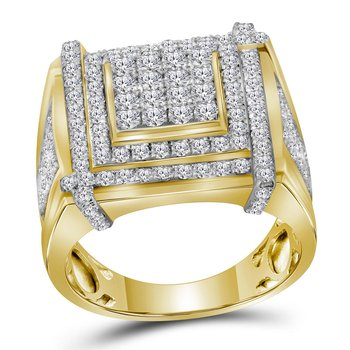 10kt Yellow Gold Mens Round Diamond Square Cluster Ring 2-3/4 Cttw