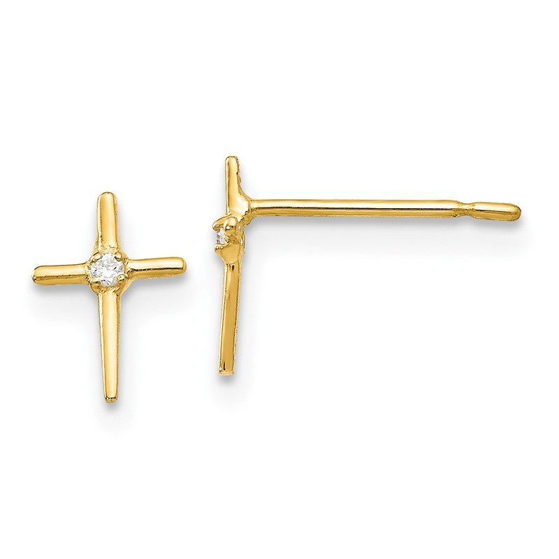 J.F. Kruse Signature Collection 14k Madi K CZ Children's Cross Post Earrings