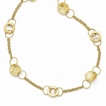 Leslie's 14k Polished Textured Fancy Link Necklace