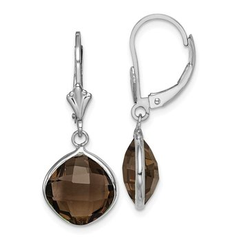 Sterling Silver Rhodium-plated Smoky Quartz Dangle Lever Back Earrings