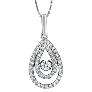 Dancing Diamond  Pear-Shaped  Pendant  in 14K White Gold  with Chain