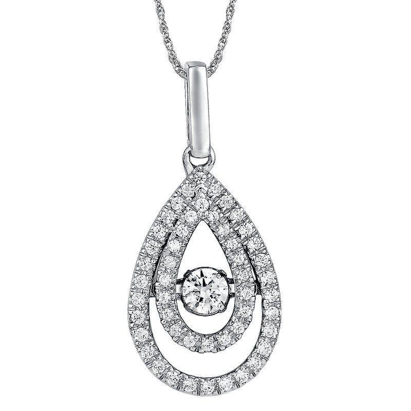 SDC Creations Dancing Diamond  Pear-Shaped  Pendant  in 14K White Gold  with Chain