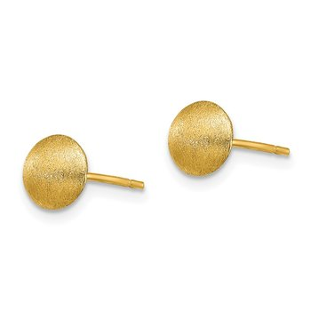 14K 7mm Satin Button Earrings