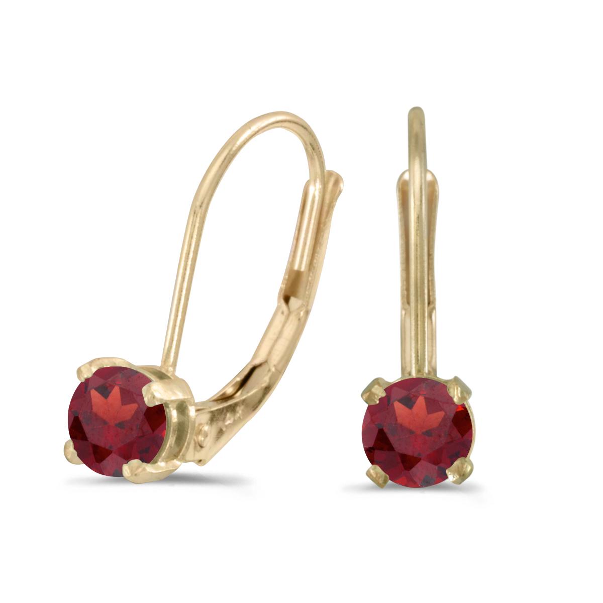 14k White Gold 4 mm Round Garnet Stud Earrings