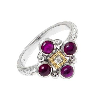 18KT & STERLING SILVER RUBY CABOCHON AND DIAMOND RING