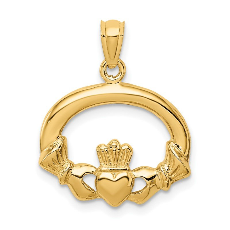 Quality Gold 14k Polished Claddagh Pendant