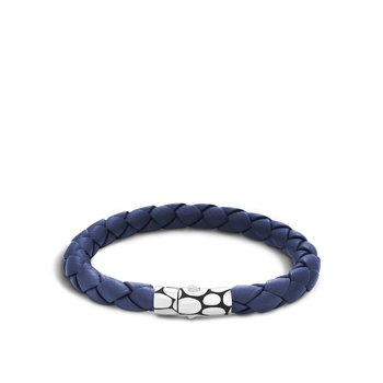 Kali 8MM Station Bracelet in Silver and Leather