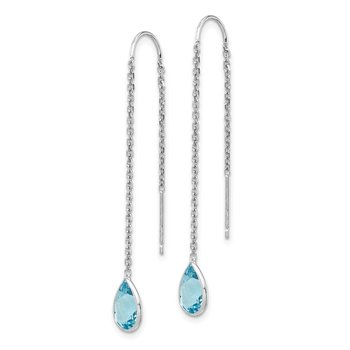 14k White Gold Blue Topaz Pear Bezel Threader Earrings