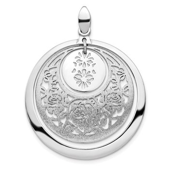 Leslie's Sterling Silver Polished and Brushed Pendant