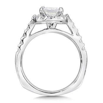 Cushion shape halo mounting .50 ct. tw., 1 ct. Princess cut center.