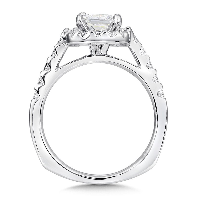 Valina Cushion shape halo mounting .50 ct. tw., 1 ct. Princess cut center.