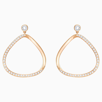 Gaya Pierced Earrings, White, Rose-gold tone plated