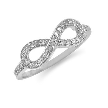 10K WG Diamond Infinity Ring in Channel Prong Setting