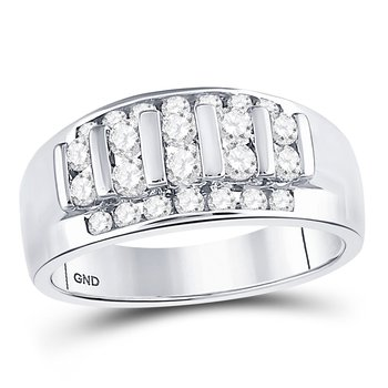 14kt White Gold Mens Round Channel-set Diamond Raised Wedding Band 1.00 Cttw