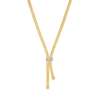14K Gold .1ct. Dia Woven Necklace