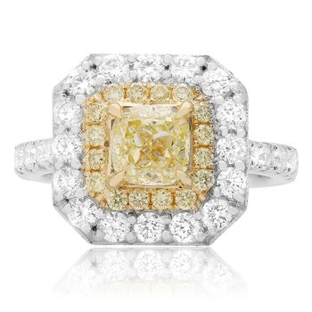 Two Tone Fancy Yellow Diamond Ring