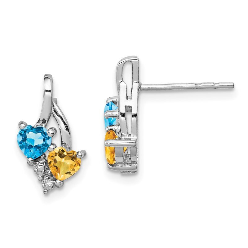 Quality Gold Sterling Silver Rhodium-plated Blue Topaz & Citrine Diamond Earrings