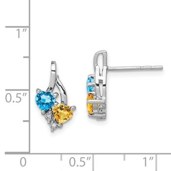 Sterling Silver Rhodium-plated Blue Topaz & Citrine Diamond Earrings